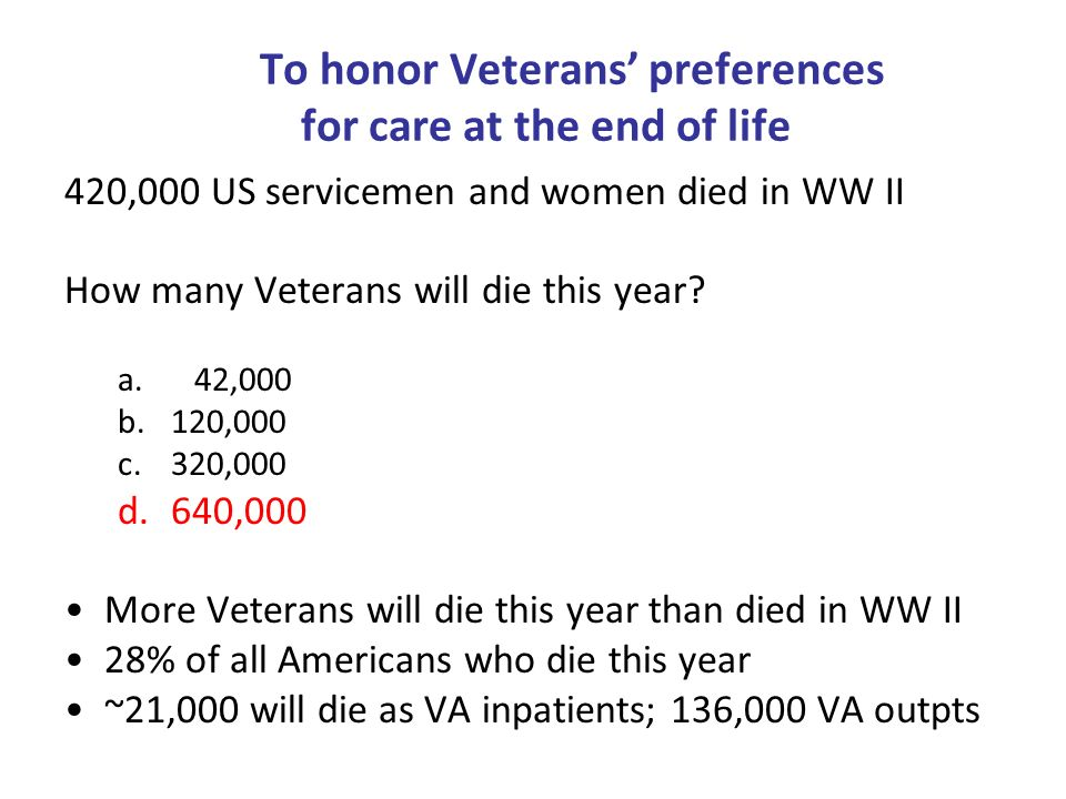 To honor Veterans' preferences for care at the end of life