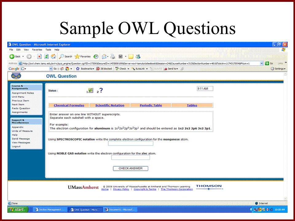 Sample OWL Questions