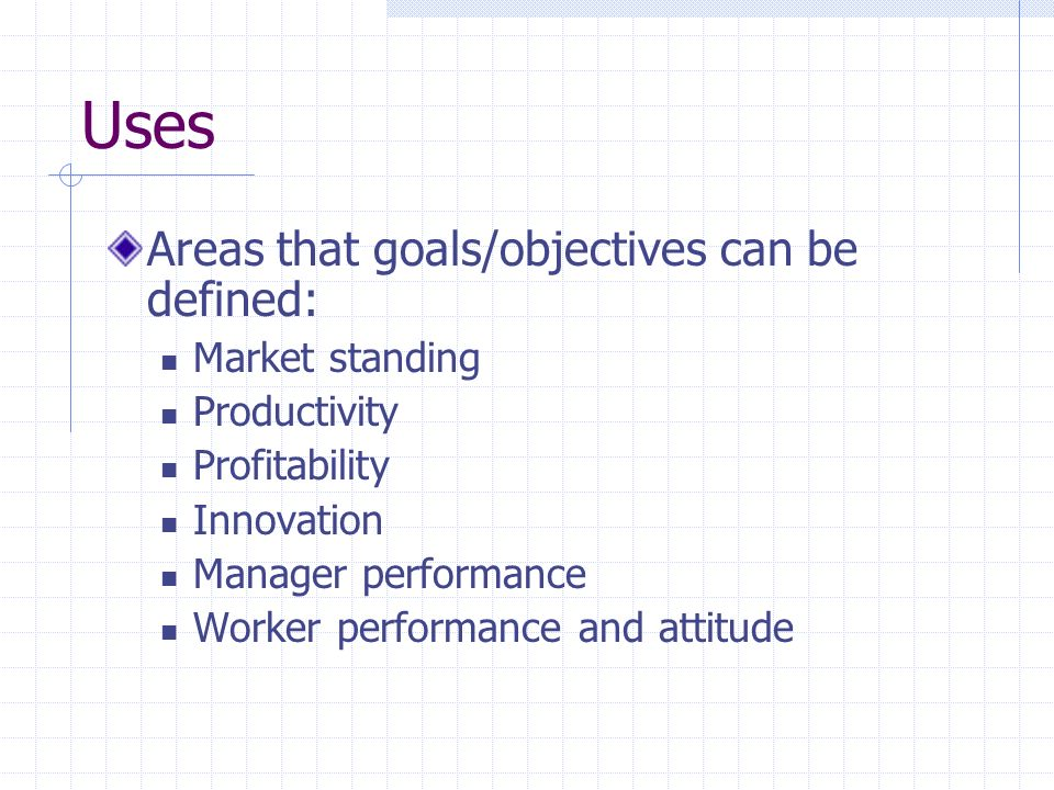 Uses Areas that goals/objectives can be defined: Market standing