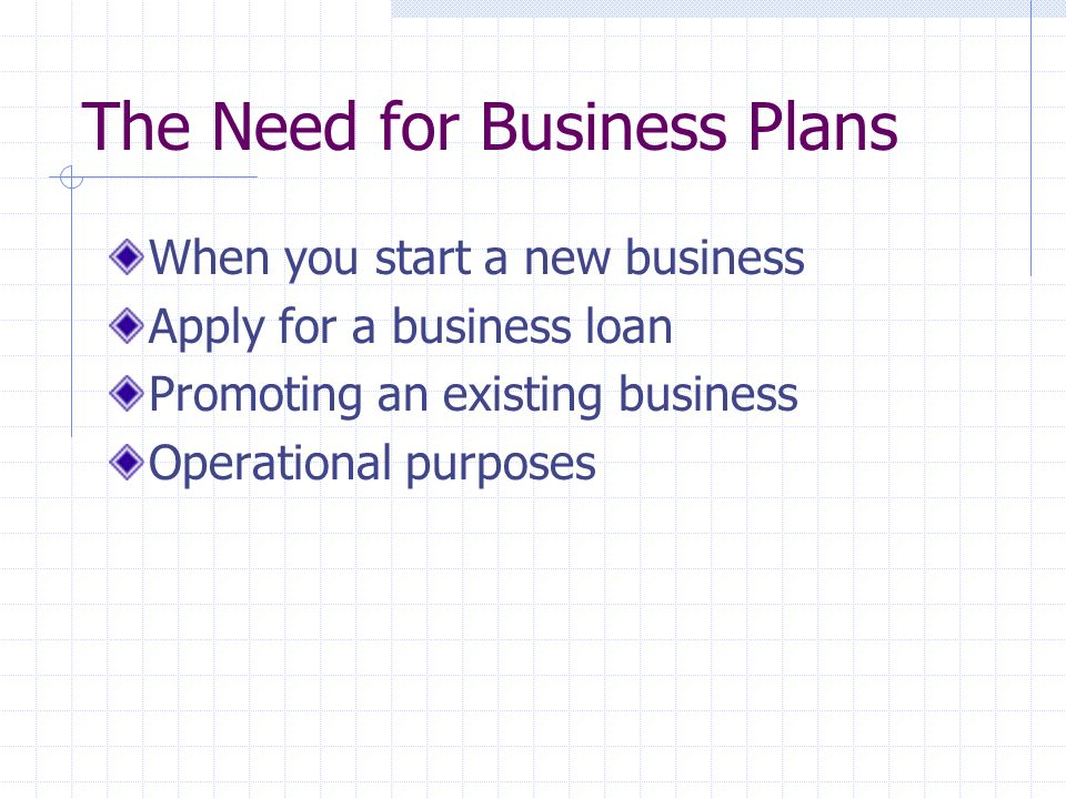 The Need for Business Plans