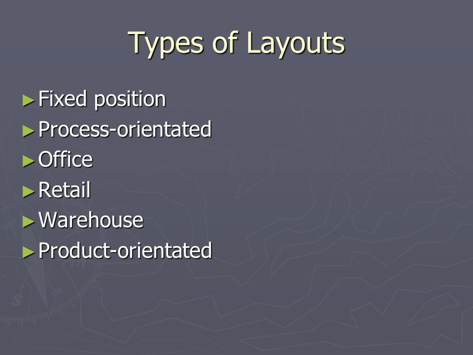 Types of Layouts Fixed position Process-orientated Office Retail