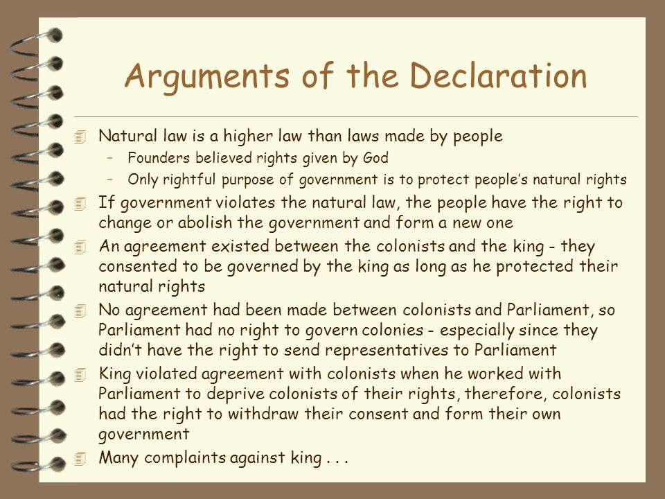 Arguments of the Declaration