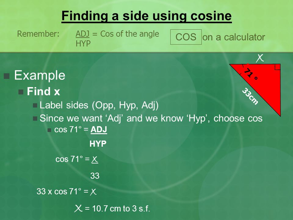 Finding a side using cosine