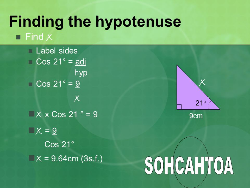 Finding the hypotenuse