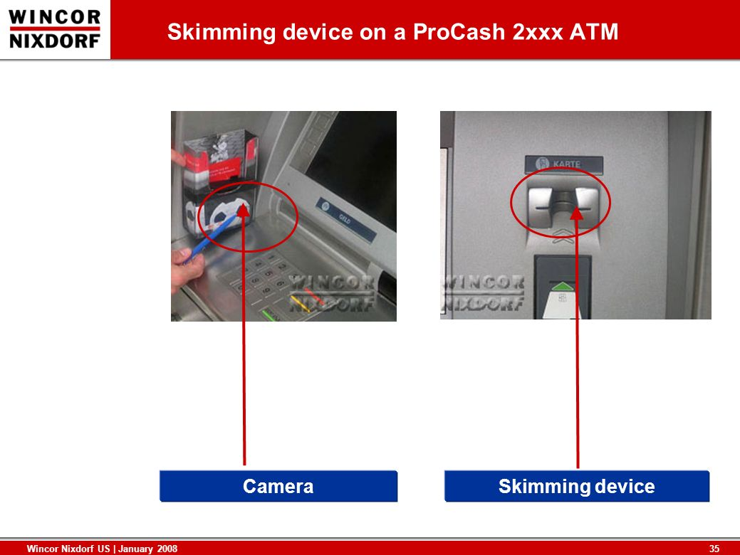 Skimming device on a ProCash 2xxx ATM