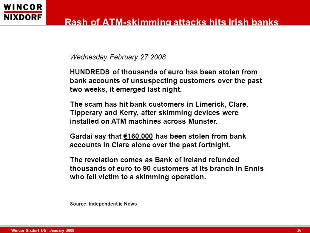 Rash of ATM-skimming attacks hits Irish banks