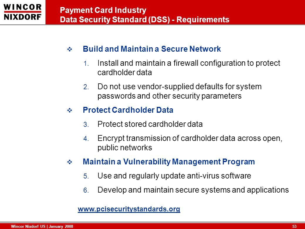 Payment Card Industry Data Security Standard (DSS) - Requirements