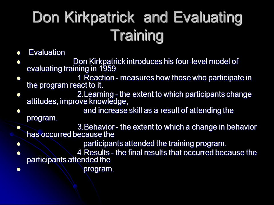 Don Kirkpatrick and Evaluating Training