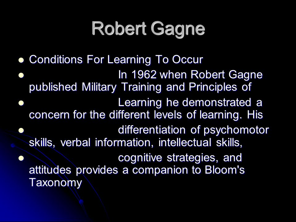 Robert Gagne Conditions For Learning To Occur