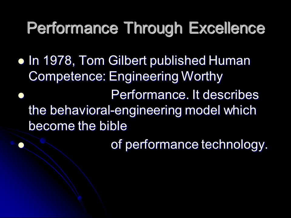 Performance Through Excellence