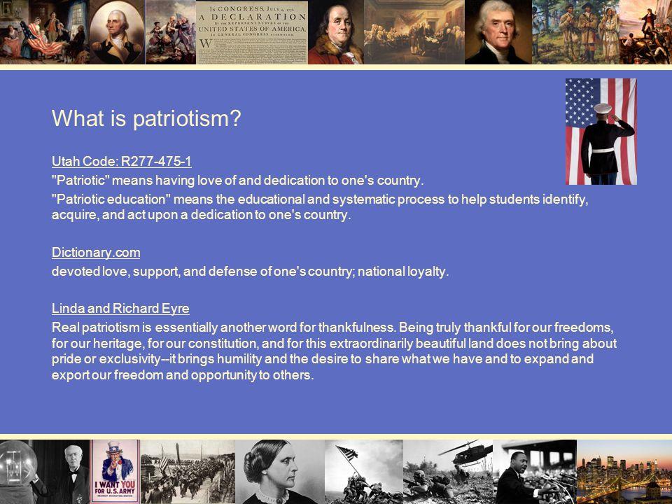 What is patriotism Utah Code: R277-475-1