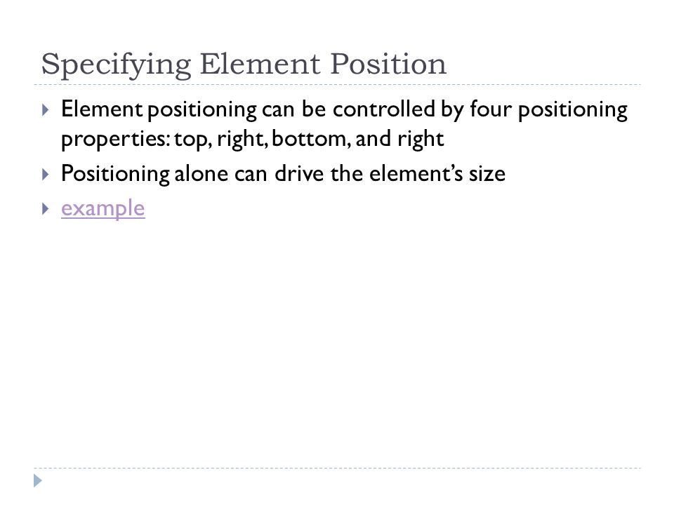 Specifying Element Position