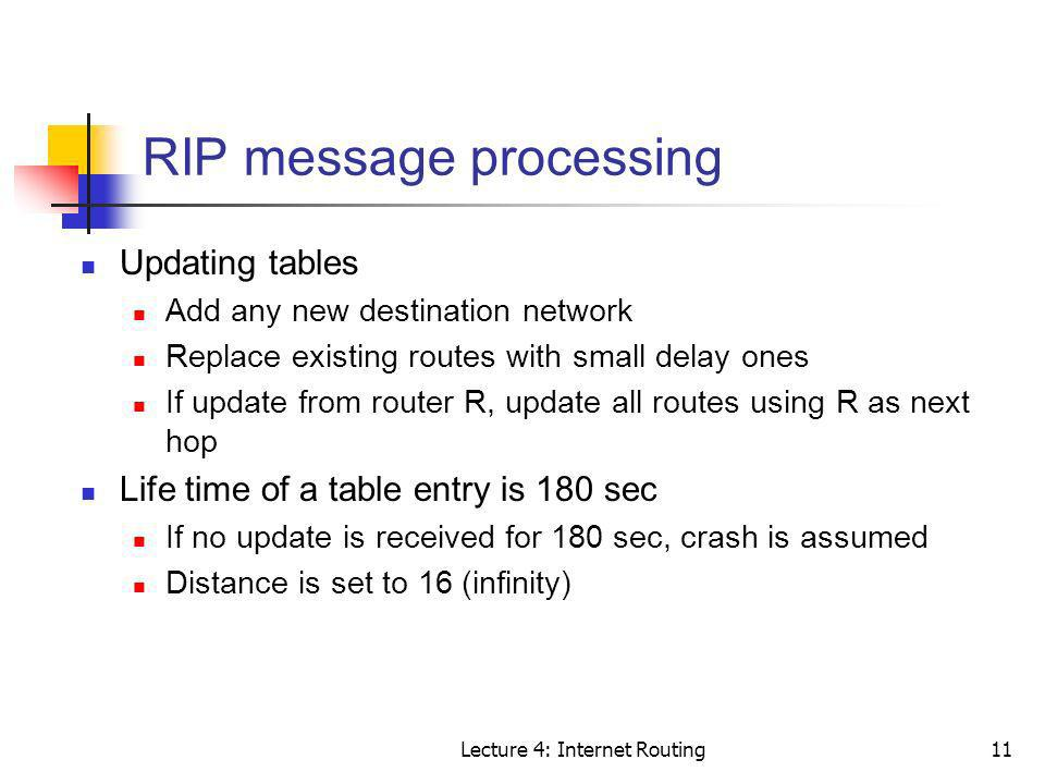 RIP message processing