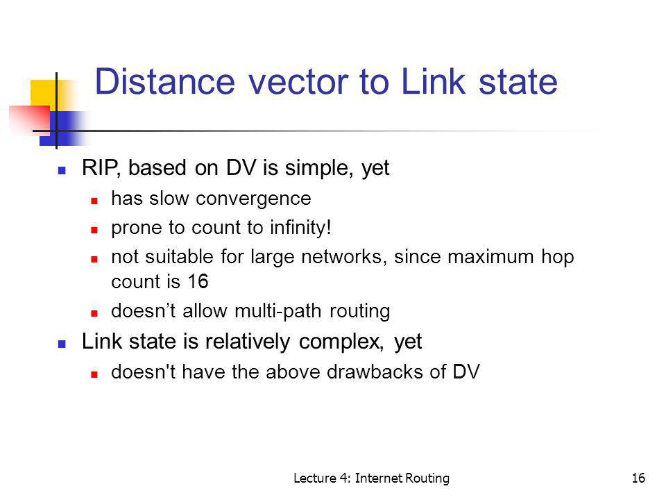 Distance vector to Link state