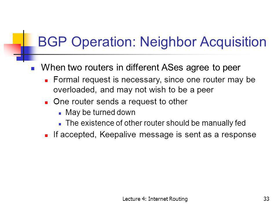 BGP Operation: Neighbor Acquisition