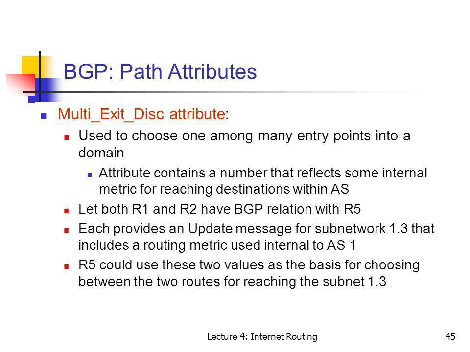 Lecture 4: Internet Routing