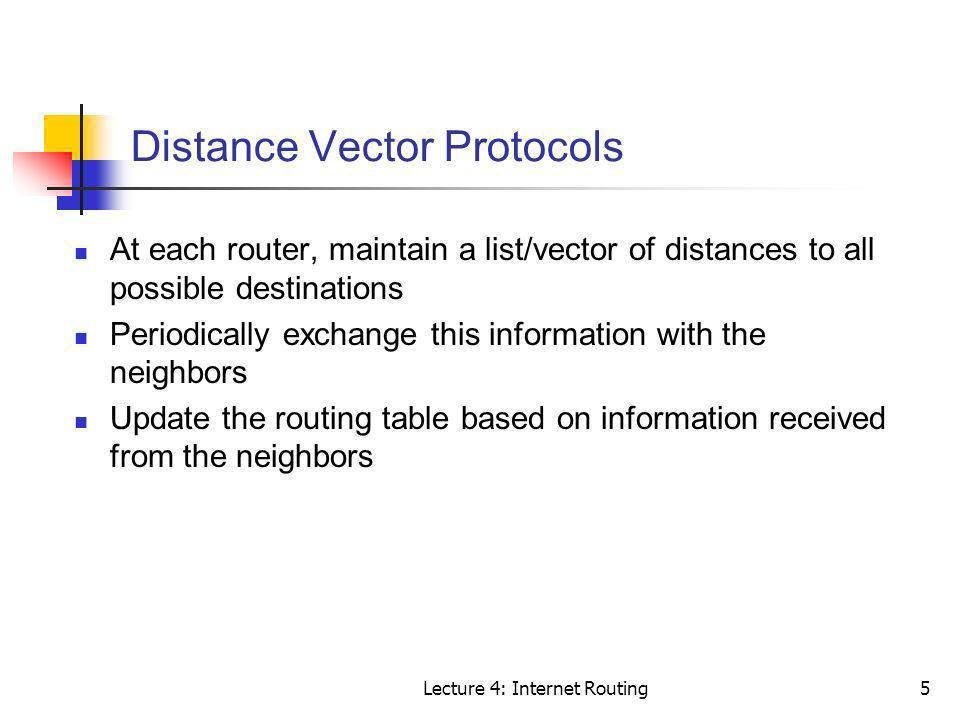 Distance Vector Protocols