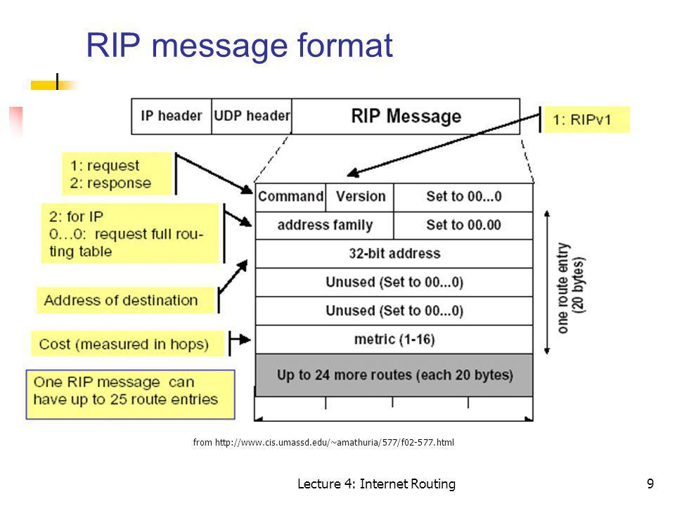 RIP message format Lecture 4: Internet Routing