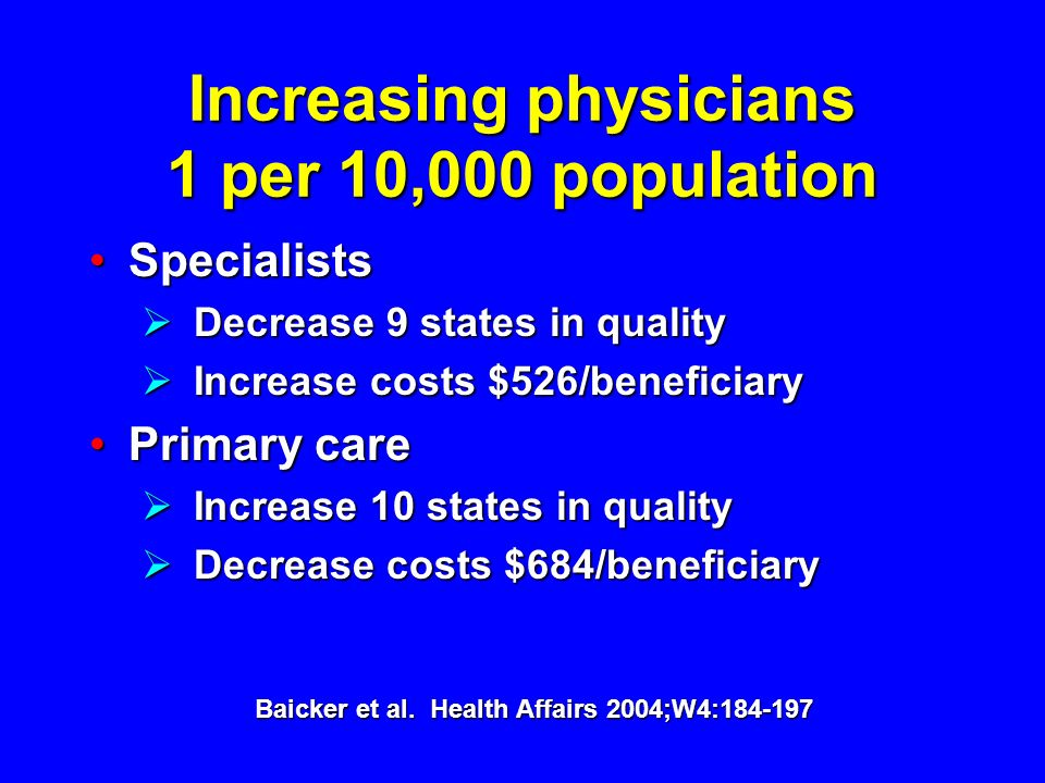 Increasing physicians 1 per 10,000 population