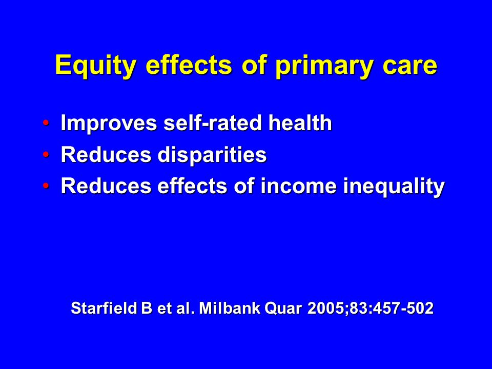 Equity effects of primary care
