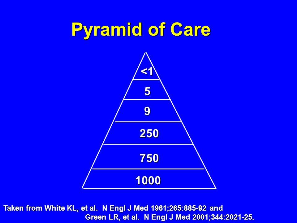 Pyramid of Care<1. 5. 9. 250. 750. 1000.