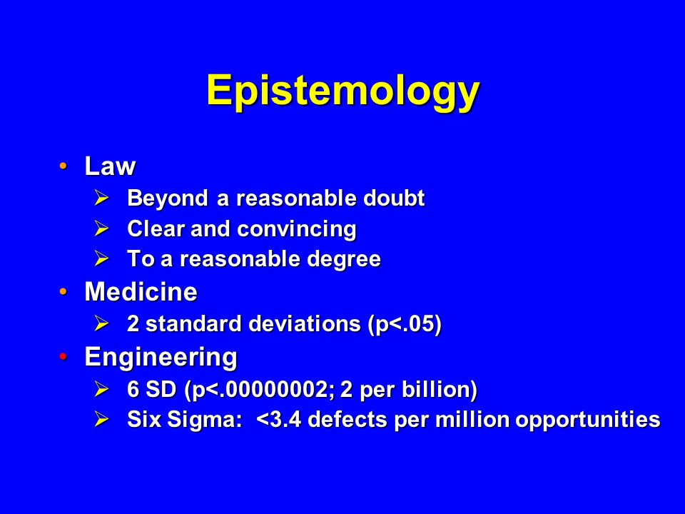 Epistemology Law Medicine Engineering Beyond a reasonable doubt