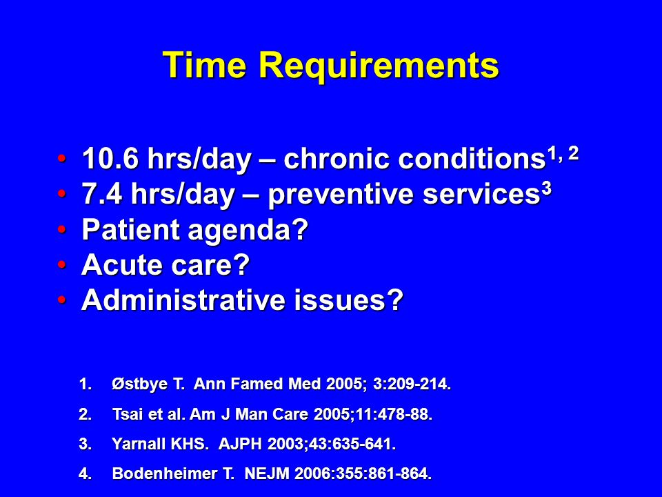Time Requirements 10.6 hrs/day – chronic conditions1, 2