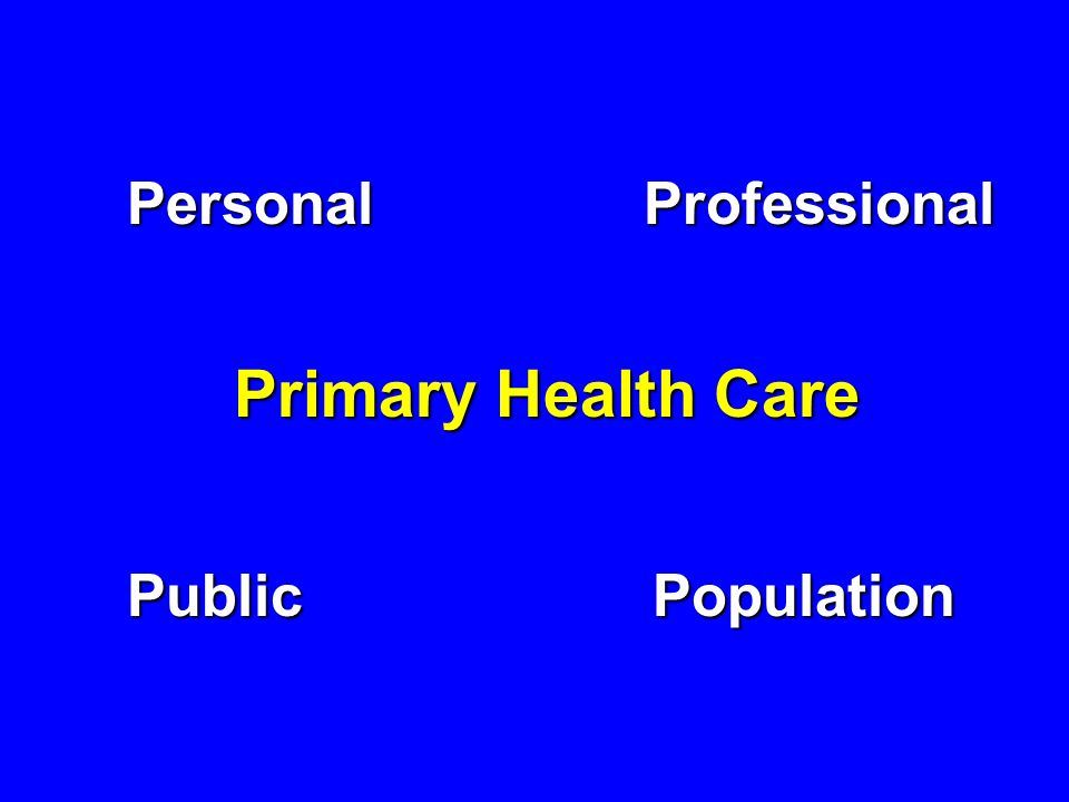 Personal Professional Primary Health Care Public Population