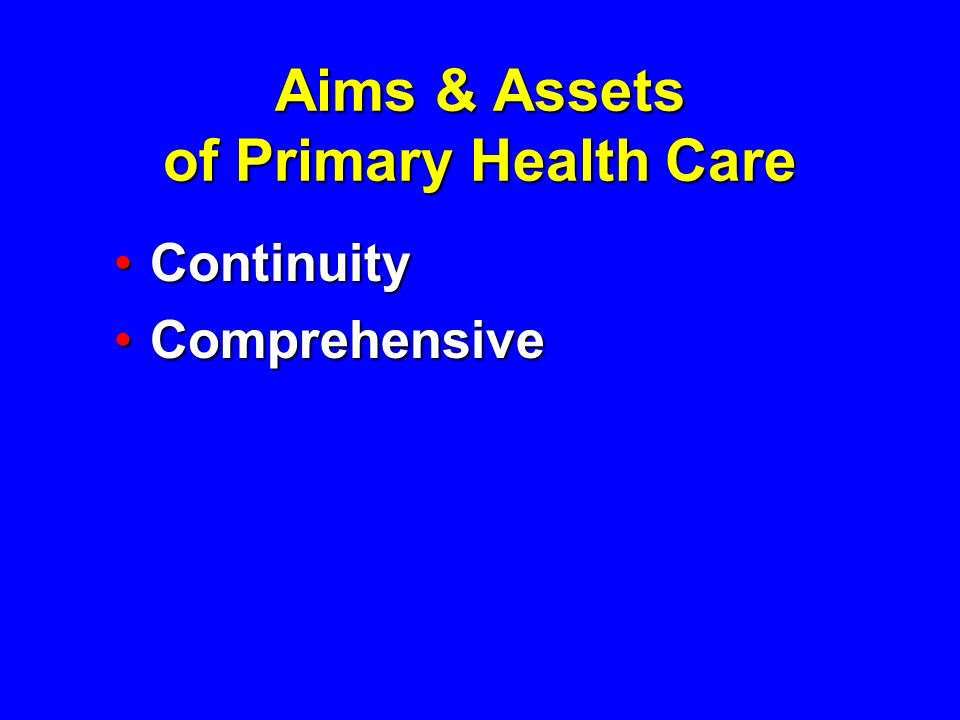 Aims & Assets of Primary Health Care