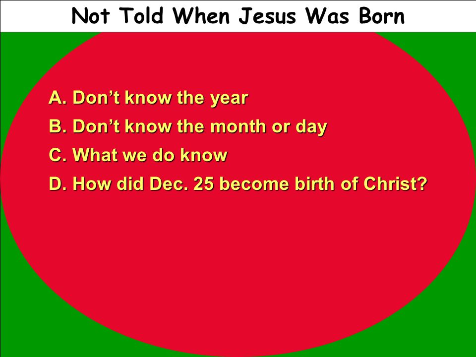 Not Told When Jesus Was Born