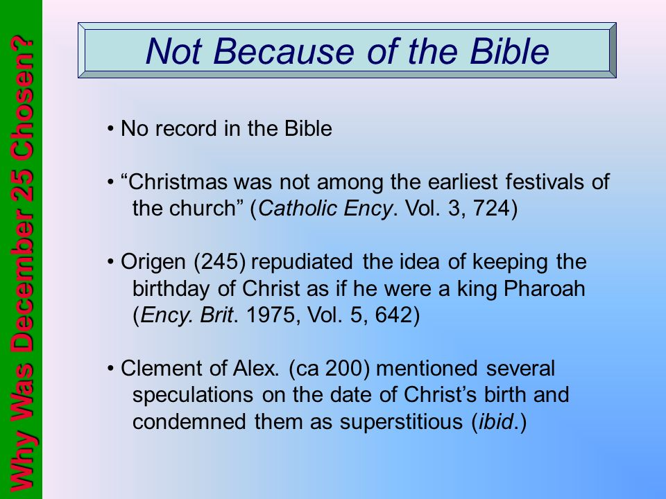 Not Because of the Bible
