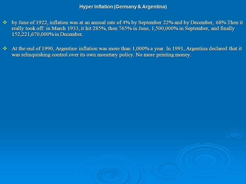Hyper Inflation (Germany & Argentina)