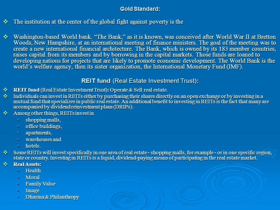 REIT fund (Real Estate Investment Trust):