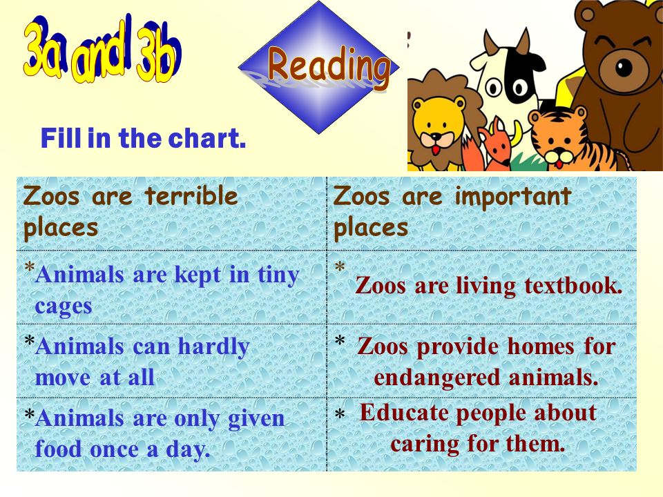 3a and 3b Reading Fill in the chart. Zoos are terrible places