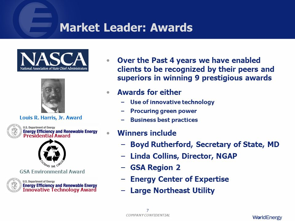 Market Leader: Awards Over the Past 4 years we have enabled clients to be recognized by their peers and superiors in winning 9 prestigious awards.