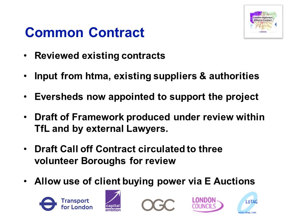 Common Contract Reviewed existing contracts