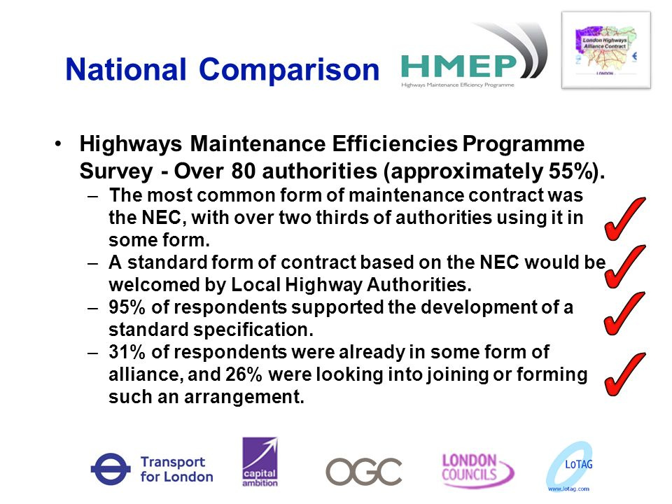 National Comparison Highways Maintenance Efficiencies Programme Survey - Over 80 authorities (approximately 55%).