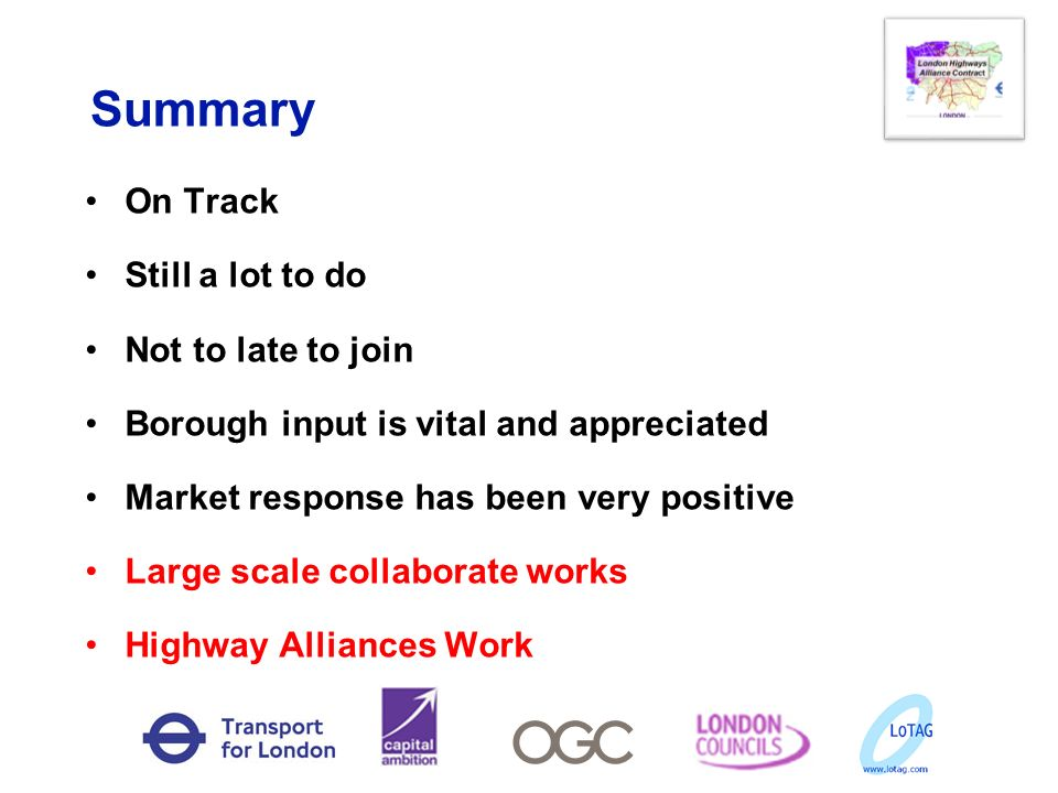 Summary On Track Still a lot to do Not to late to join