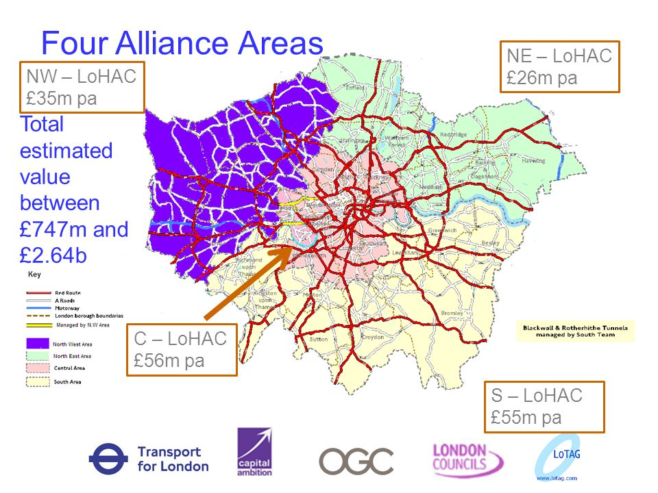 Four Alliance Areas Total estimated value between £747m and £2.64b