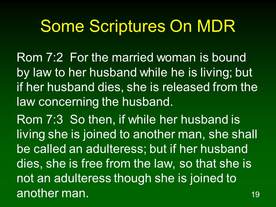 Some Scriptures On MDR