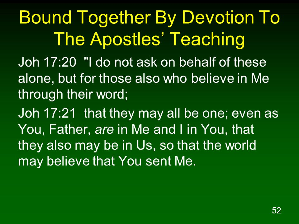 Bound Together By Devotion To The Apostles' Teaching