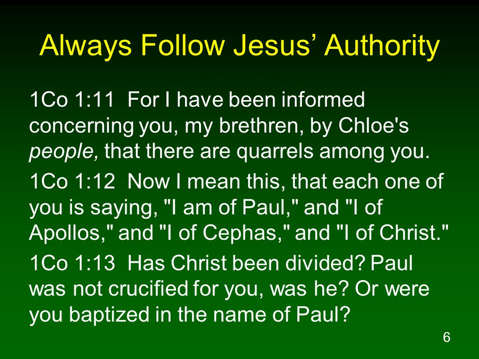 Always Follow Jesus' Authority