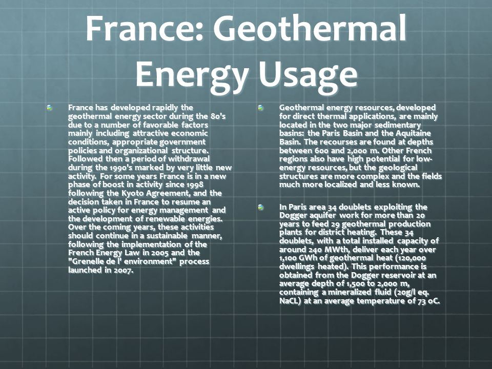 France: Geothermal Energy Usage