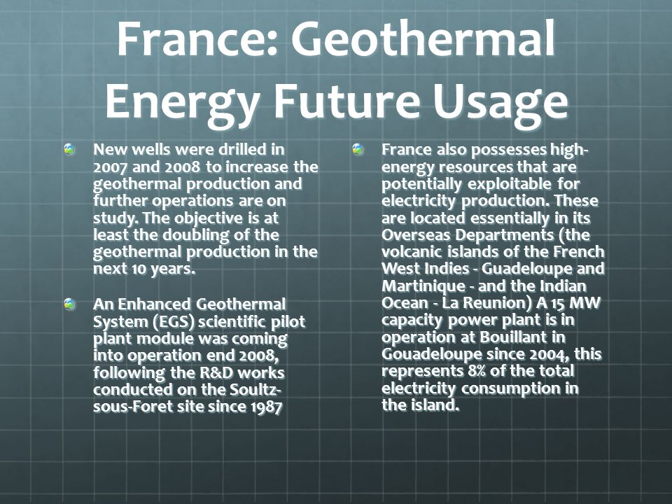 France: Geothermal Energy Future Usage