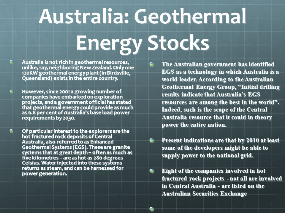 Australia: Geothermal Energy Stocks