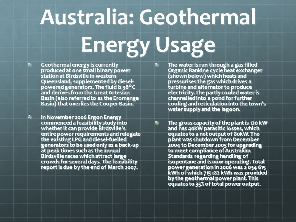 Australia: Geothermal Energy Usage