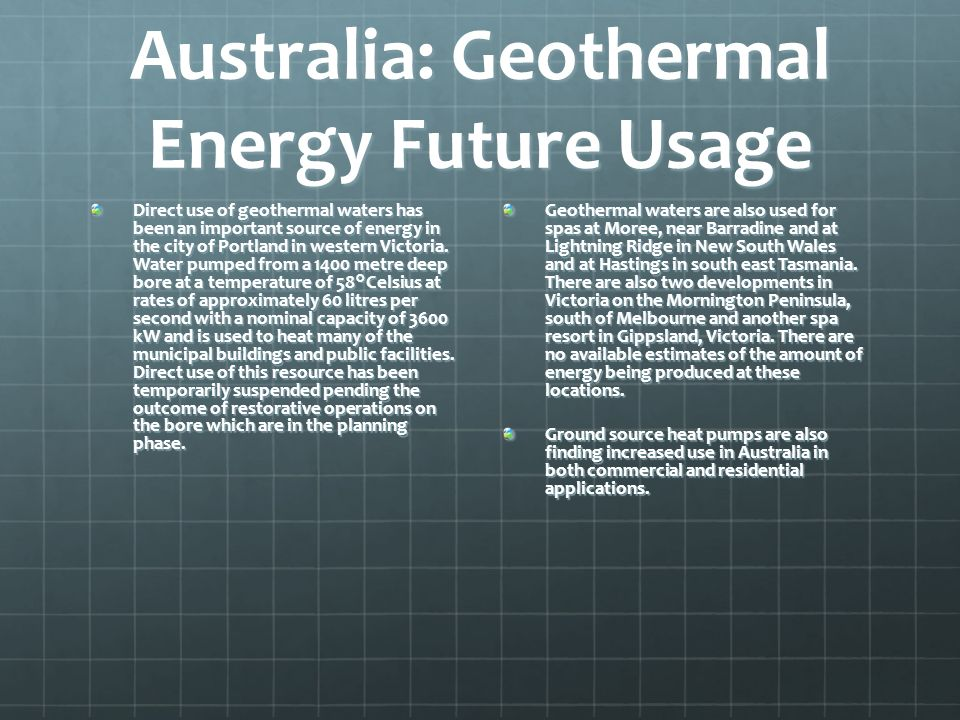 Australia: Geothermal Energy Future Usage