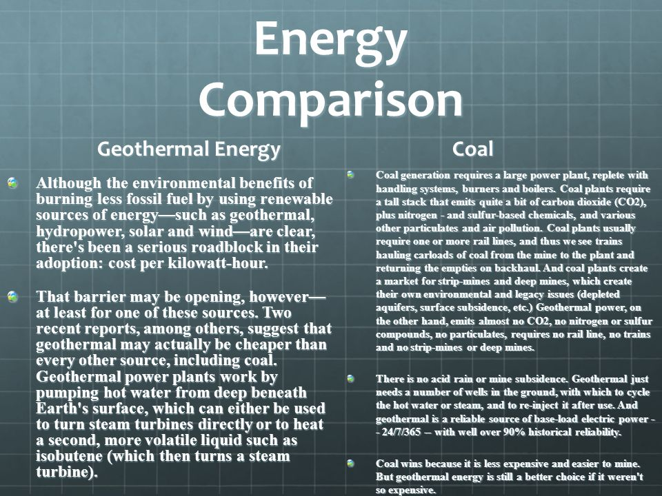 Energy Comparison Geothermal Energy Coal