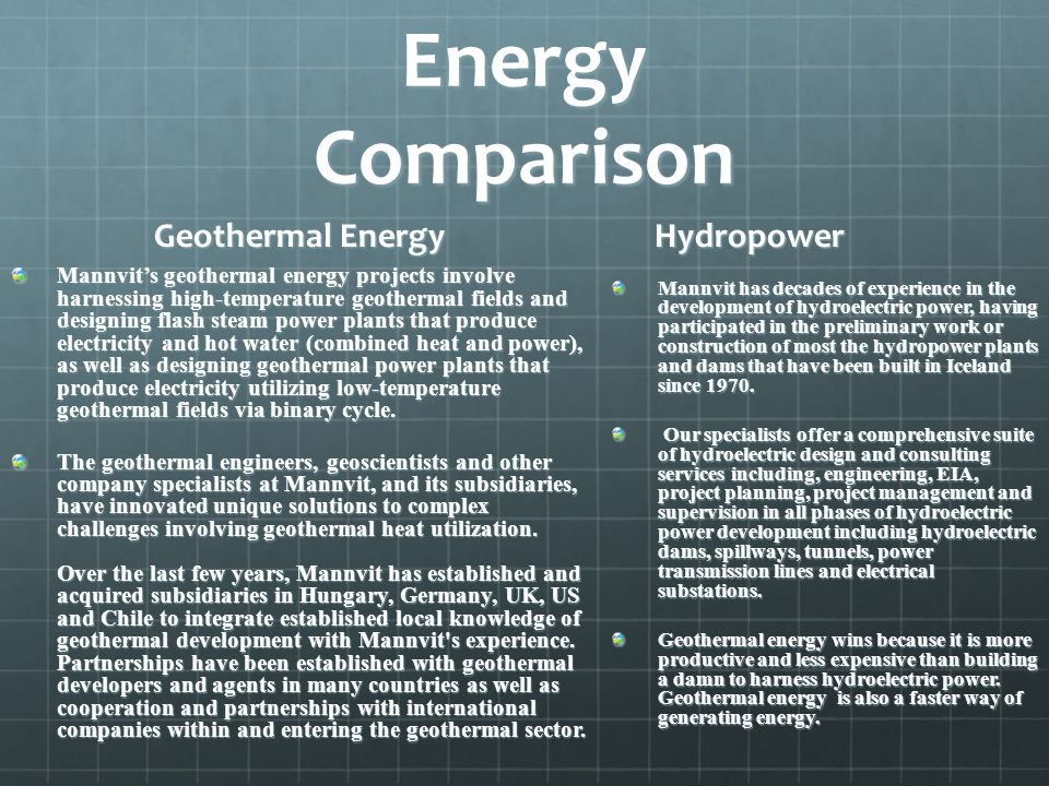 Energy Comparison Geothermal Energy Hydropower