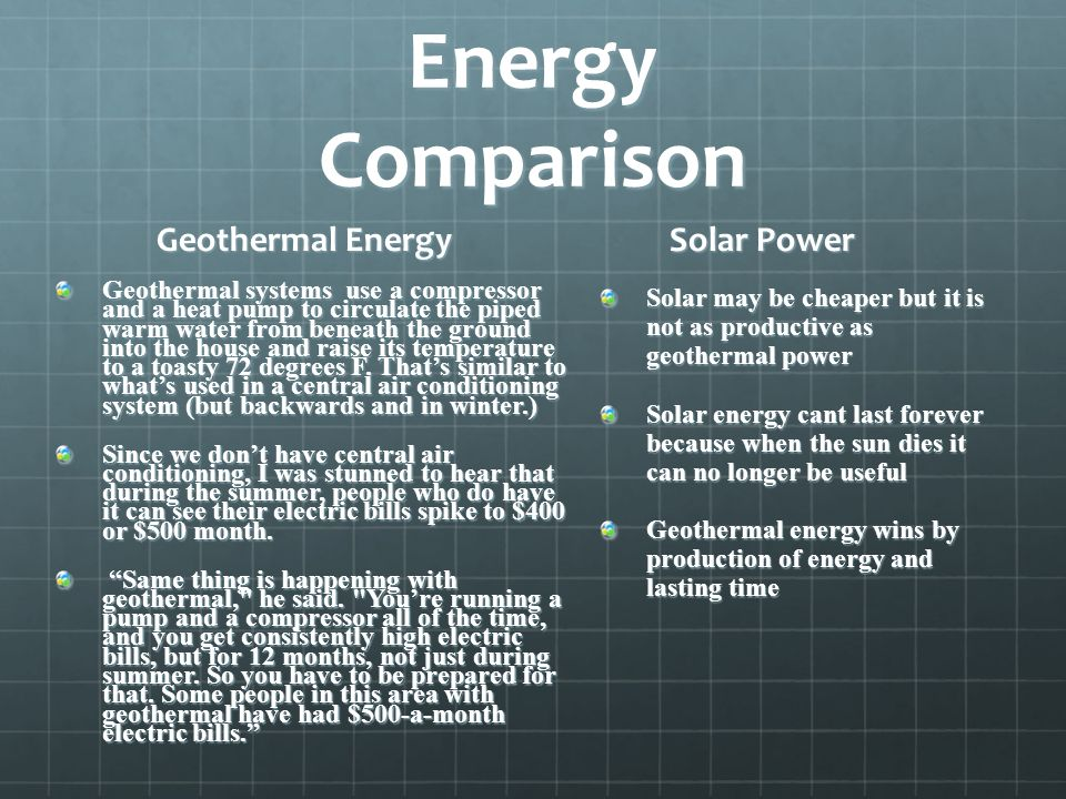 Energy Comparison Geothermal Energy Solar Power